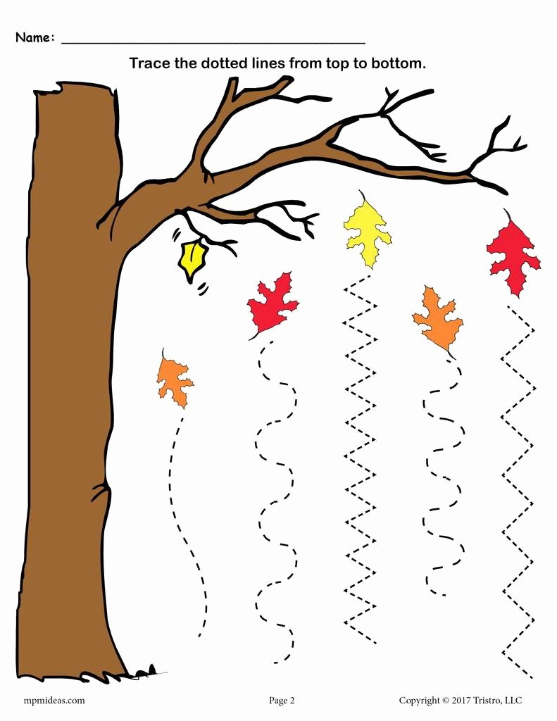 Straight Line Worksheets for Preschoolers Unique Printable Fall Line Tracing Worksheets