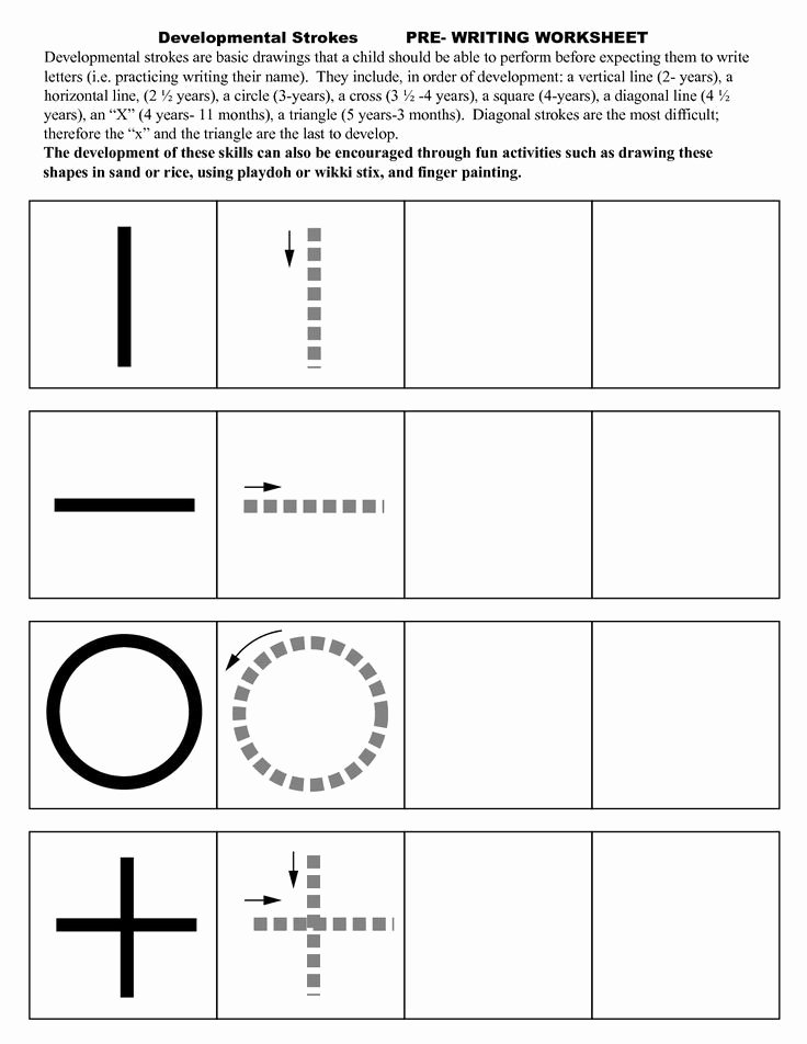 Strokes Worksheets for Preschoolers Best Of Pre Writing Strokes Worksheets