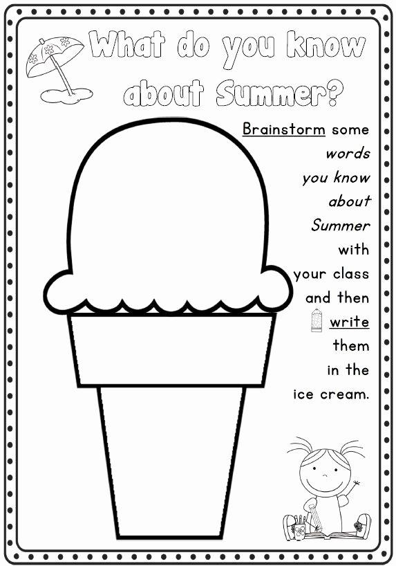 Summer Fun Worksheets for Preschoolers Fresh Summer Writing