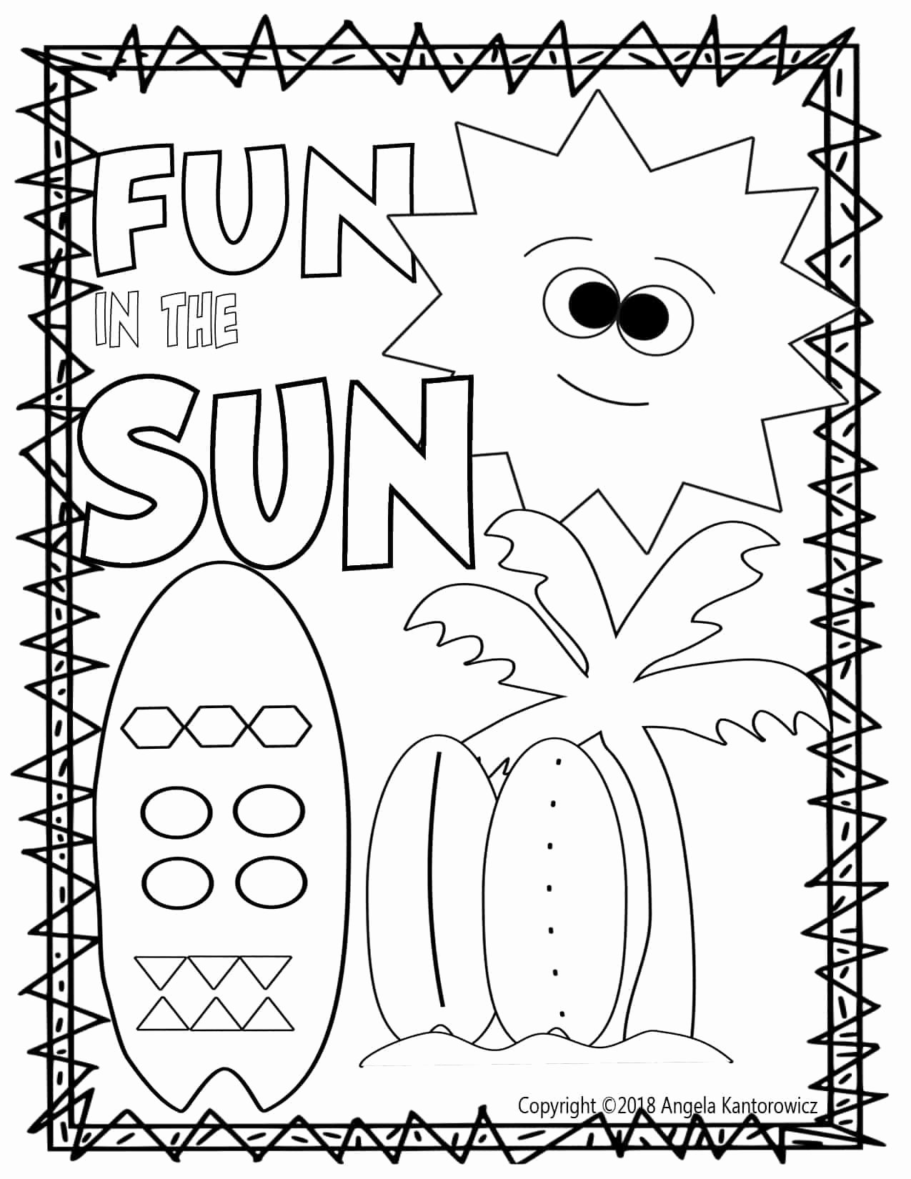 Summer Fun Worksheets for Preschoolers Fresh Worksheets Fun In the Sun Color Sheet Coloring Summer