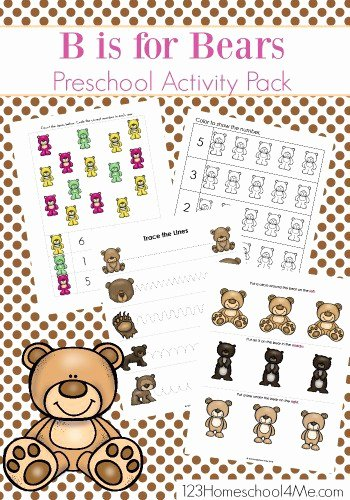 Teddy Bear Worksheets for Preschoolers Beautiful B is for Bear Worksheets