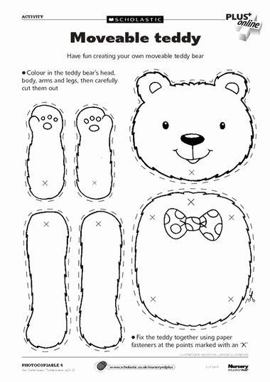 Teddy Bear Worksheets for Preschoolers New Moveable Teddy – Free Early Years Teaching Resource