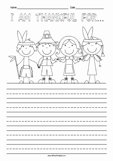 Thankful Worksheets for Preschoolers Unique Am Thankful for Free Printable Allfreeprintable Thanksgiving