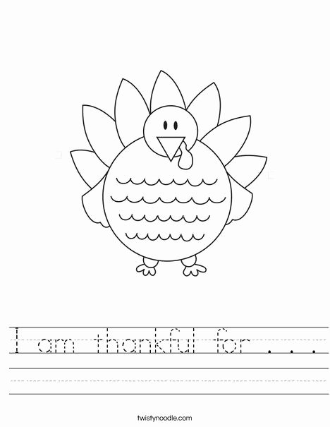 Thankful Worksheets for Preschoolers Unique I Am Thankful for Worksheet
