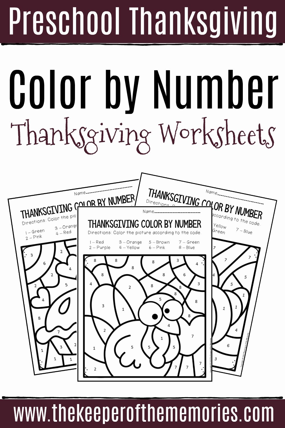 Thanksgiving Worksheets for Preschoolers New Color by Number Thanksgiving Preschool Worksheets