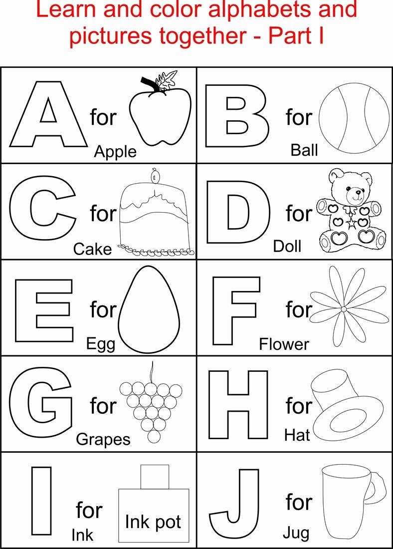 The Alphabet Worksheets for Preschoolers Unique Worksheet Alphabet Coloring Pages for Kids Printable