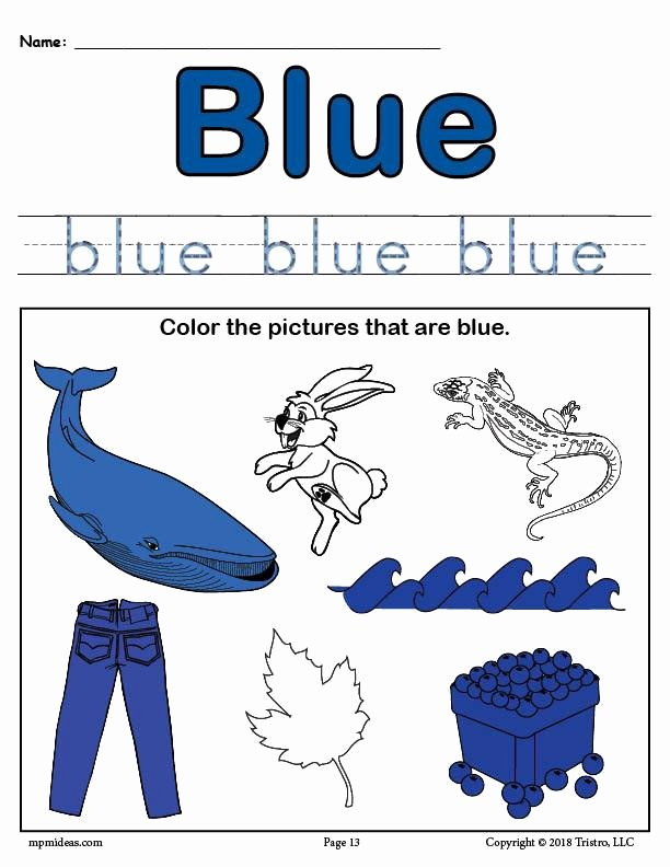 The Color Blue Worksheets for Preschoolers Beautiful Color Blue Worksheet