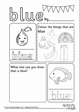 The Color Blue Worksheets for Preschoolers Best Of Blue Colour Worksheet