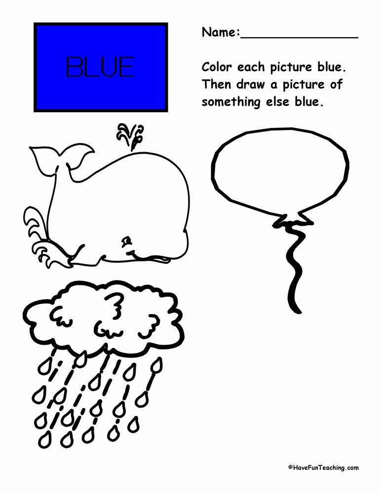 The Color Blue Worksheets for Preschoolers Best Of Coloring Blue Worksheet