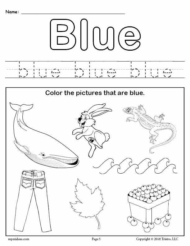 The Color Blue Worksheets for Preschoolers Best Of Free Color Blue Worksheet