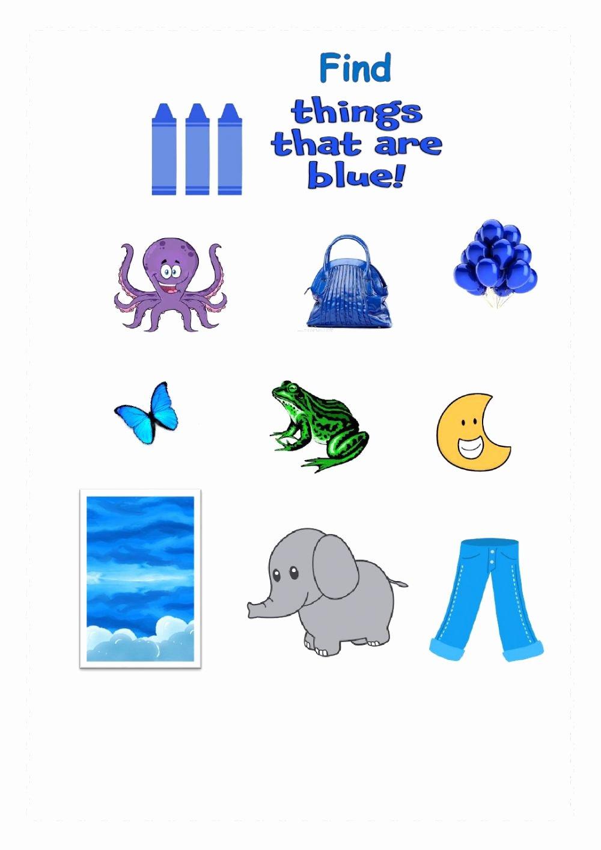 The Color Blue Worksheets for Preschoolers Fresh Colour Blue Interactive Worksheet