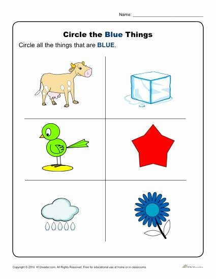 The Color Blue Worksheets for Preschoolers Lovely Circle the Blue Things