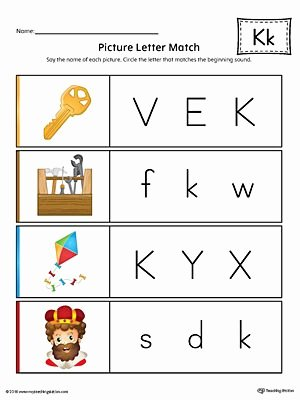The Letter K Worksheets for Preschoolers Awesome Picture Letter Match Letter K Worksheet Color
