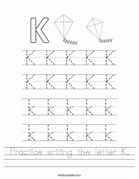 The Letter K Worksheets for Preschoolers Fresh Worksheet Practice Writing the Letter K Worksheet Twisty