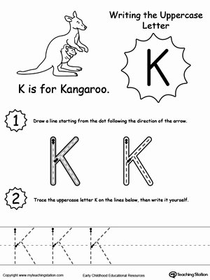 The Letter K Worksheets for Preschoolers New Writing Uppercase Letter K