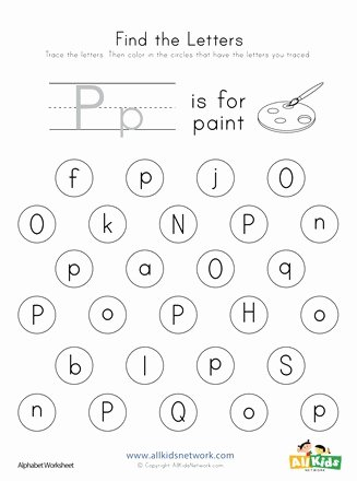The Letter P Worksheets for Preschoolers Awesome Find the Letter P Worksheet