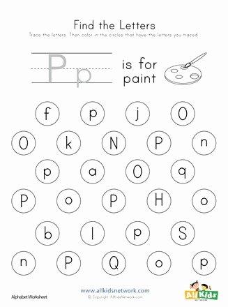 The Letter P Worksheets for Preschoolers Awesome Find the Letter P Worksheet