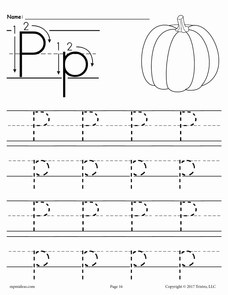 The Letter P Worksheets for Preschoolers Unique Printable Letter P Tracing Worksheet
