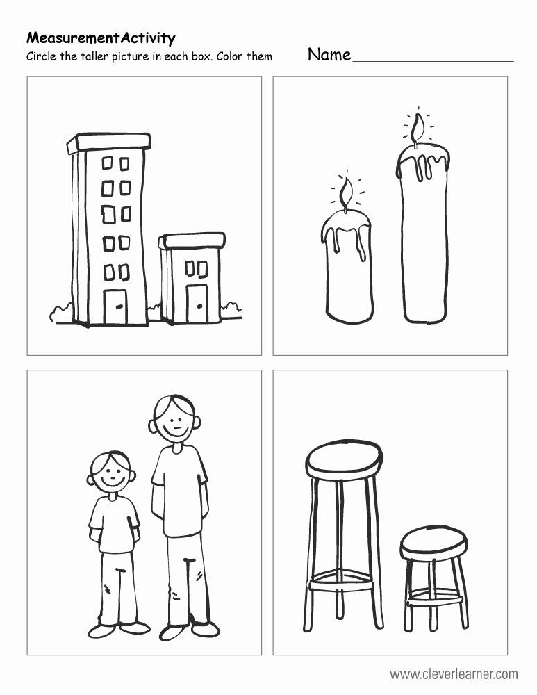 Thick and Thin Worksheets for Preschoolers Awesome Free Printable Worksheets On Measuring Sizes Tall and Short