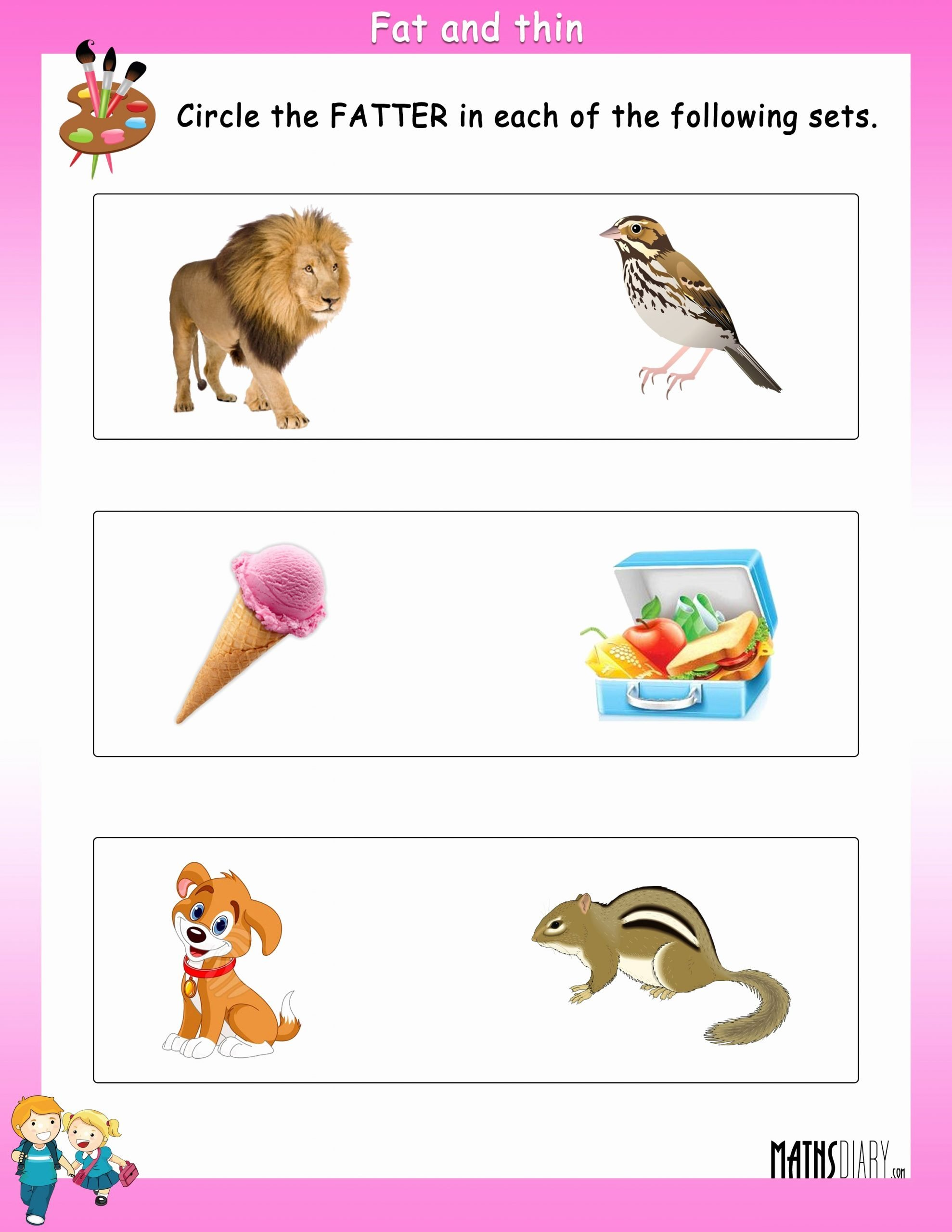 Thick and Thin Worksheets for Preschoolers Beautiful Fat Thin Worksheet