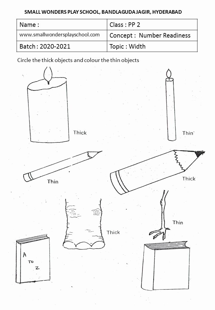 Thick and Thin Worksheets for Preschoolers top Kindergarten Work Sheets
