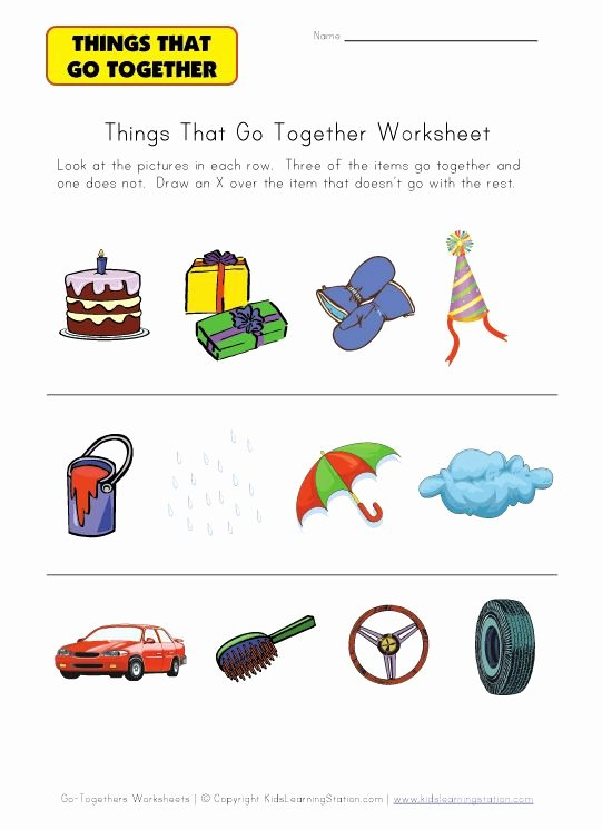Things that Go together Worksheets for Preschoolers Awesome Kindergarten Go to Hers Worksheet