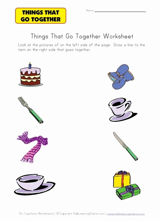Things that Go together Worksheets for Preschoolers Beautiful Go to Hers Worksheet