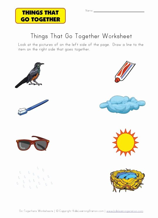 Things that Go together Worksheets for Preschoolers Beautiful Matching Things that Go to Her Worksheets