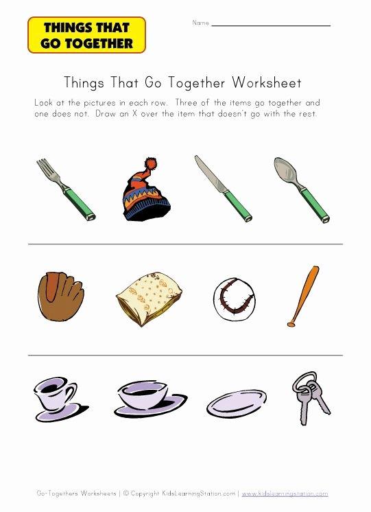 Things that Go together Worksheets for Preschoolers Best Of Preschool Go to Her Worksheet