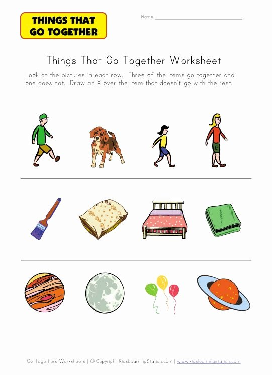 Things that Go together Worksheets for Preschoolers Lovely Things that Go to Her Identification