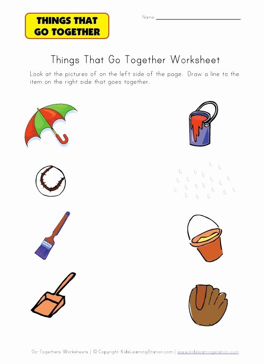 Things that Go together Worksheets for Preschoolers top Matching Go to Hers Worksheets