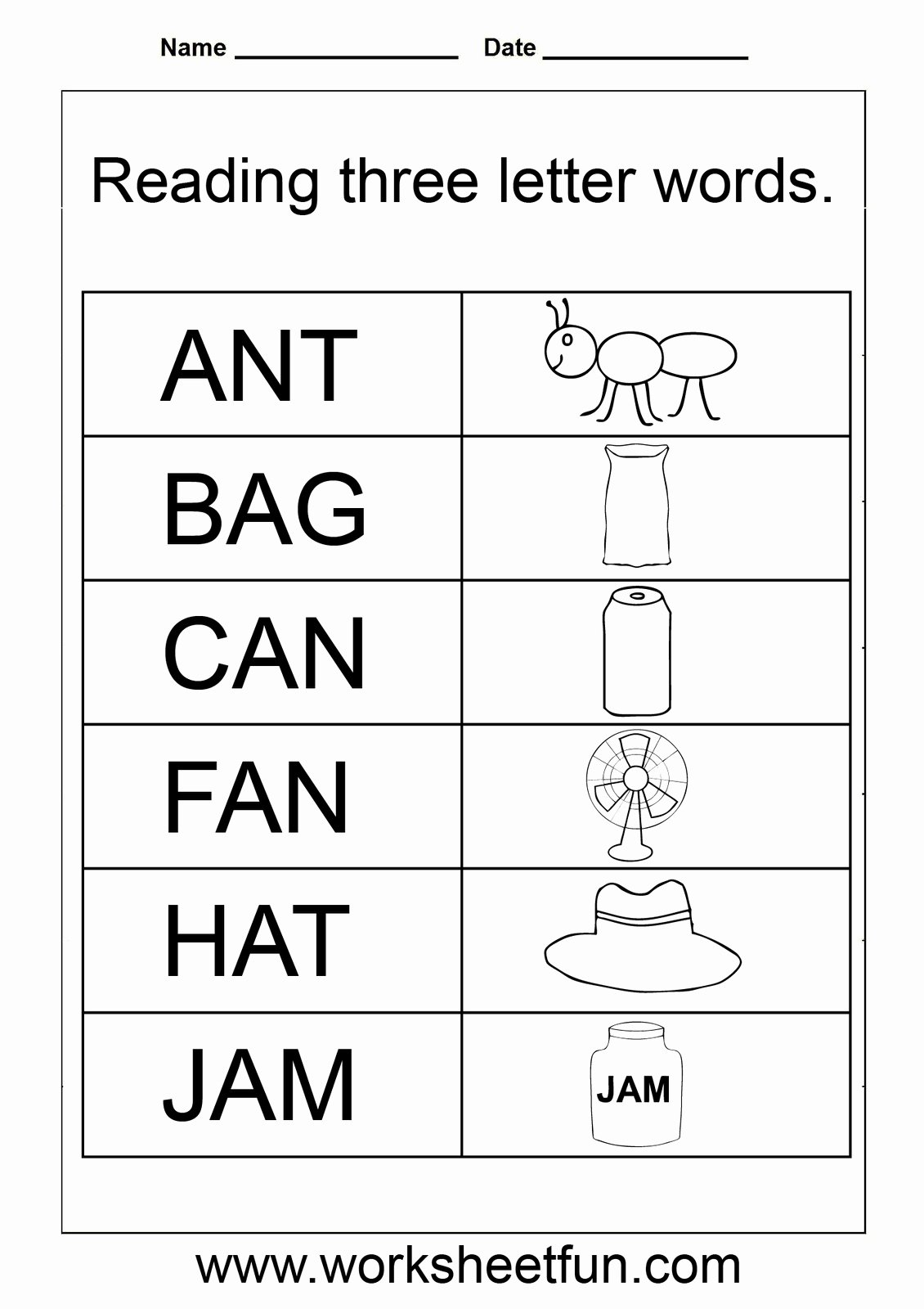 Three Letter Words Worksheets for Preschoolers top 3 Letter Words Worksheets for Kindergarten