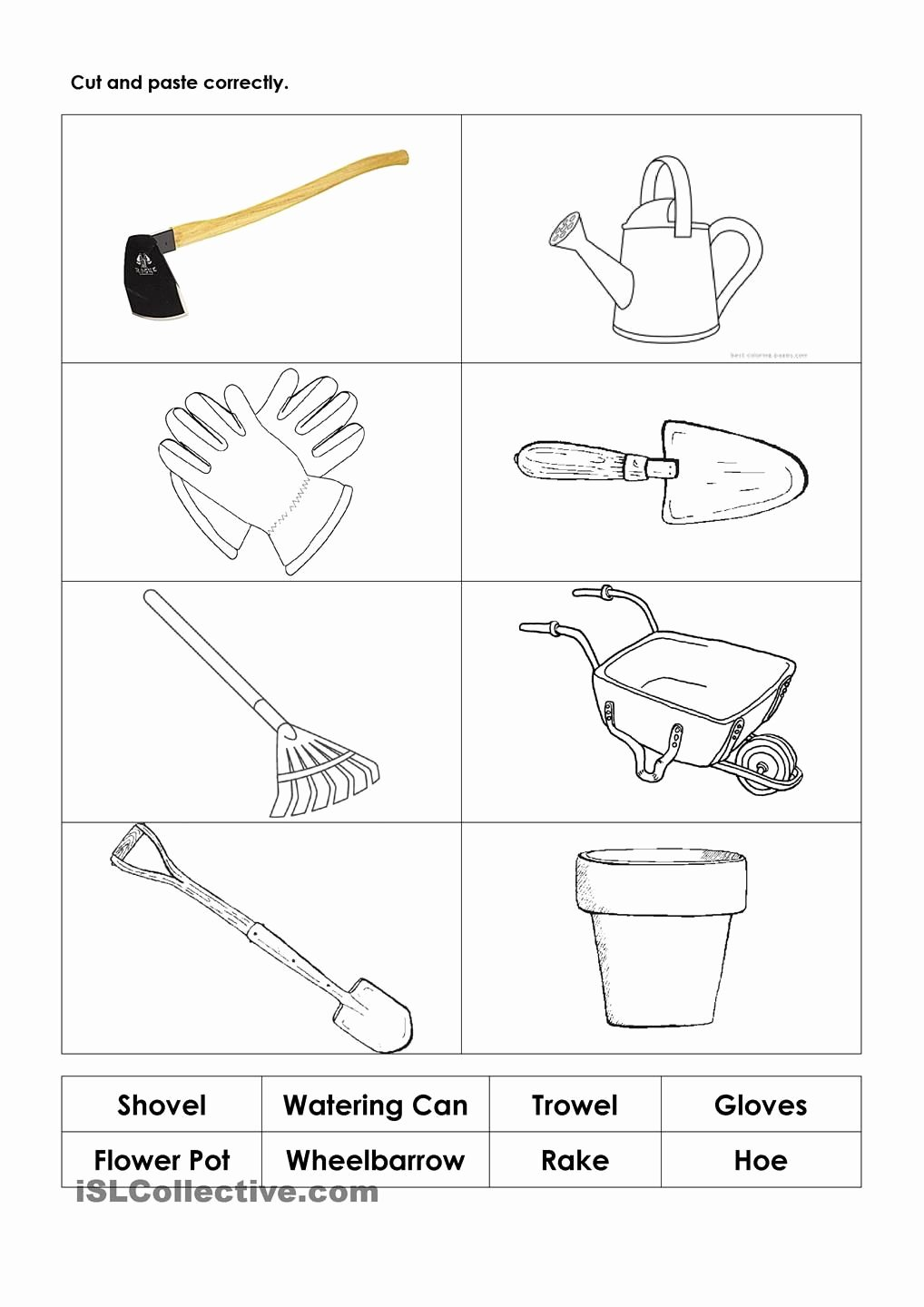Tools Worksheets for Preschoolers Lovely Gardening tools