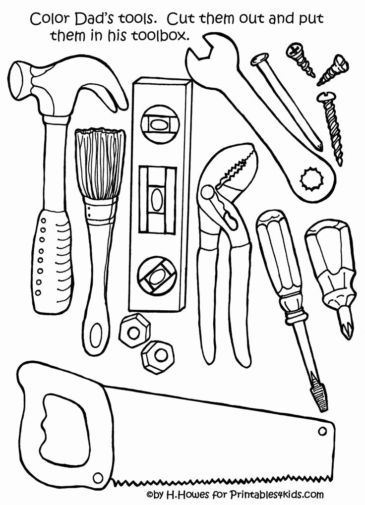 Tools Worksheets for Preschoolers Unique Repair tools Coloring
