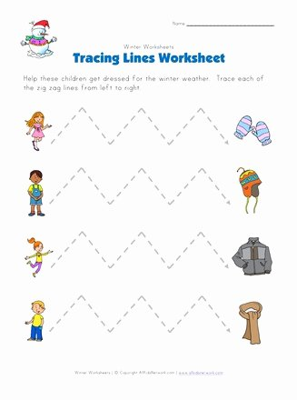 Trace the Lines Worksheets for Preschoolers Best Of Winter Tracing Zig Zag Lines Worksheet
