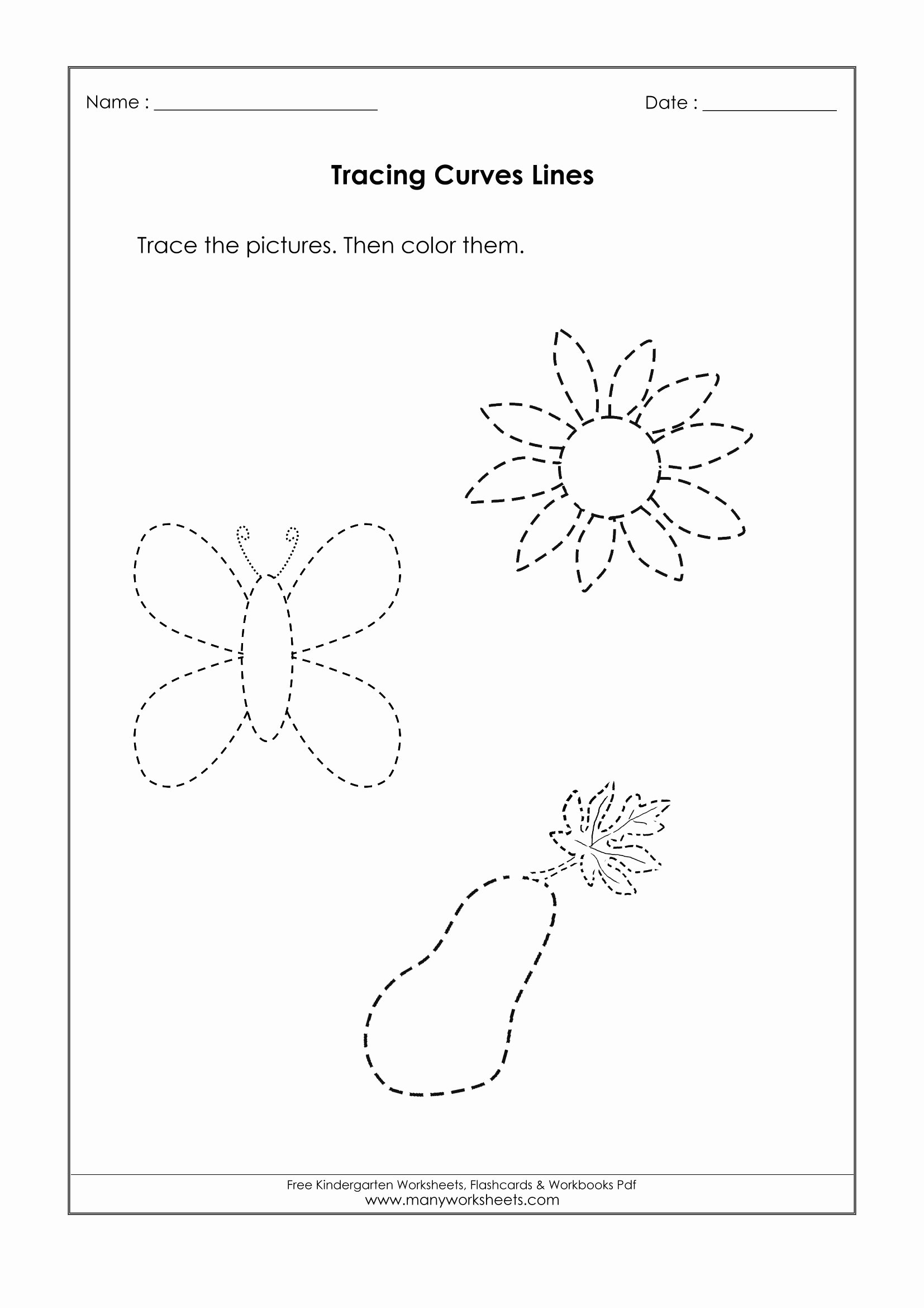 Trace the Lines Worksheets for Preschoolers Lovely Worksheets Tracing Curved Lines Worksheets Printable