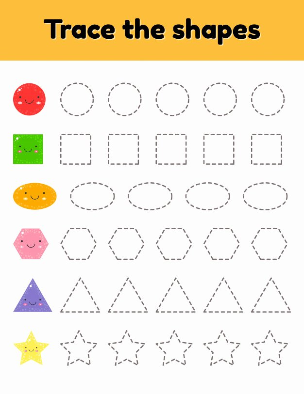 Traceable Shapes Worksheets for Preschoolers Beautiful Vector Illustration Educational Tracing Worksheet for Kids