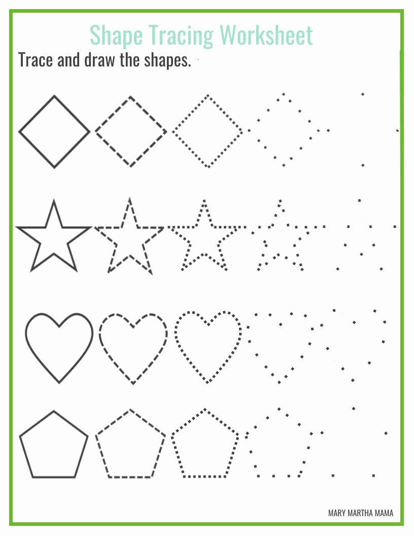 Traceable Shapes Worksheets for Preschoolers New Shapes Worksheets for Preschool Free Printables Mary Martha