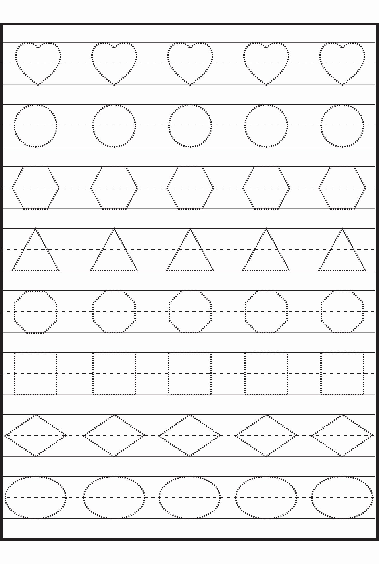 Traceable Shapes Worksheets for Preschoolers Unique Preschool Tracing Worksheets Best Coloring Pages for Kids