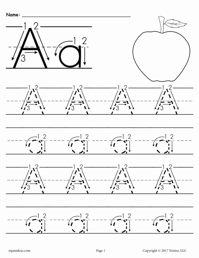 Tracing Letter Worksheets for Preschoolers Inspirational Printable Letter Tracing Worksheet with Number and Arrow