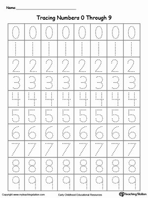 Tracing Numbers Worksheets for Preschoolers Beautiful Tracing Numbers 0 Through 9