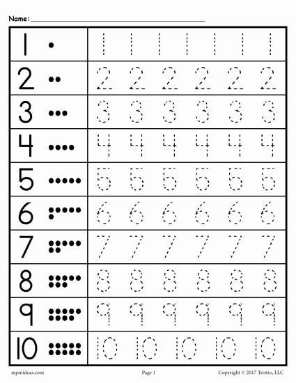 Tracing Numbers Worksheets for Preschoolers Lovely Free Printable Tracing Worksheet Numbers 1 10