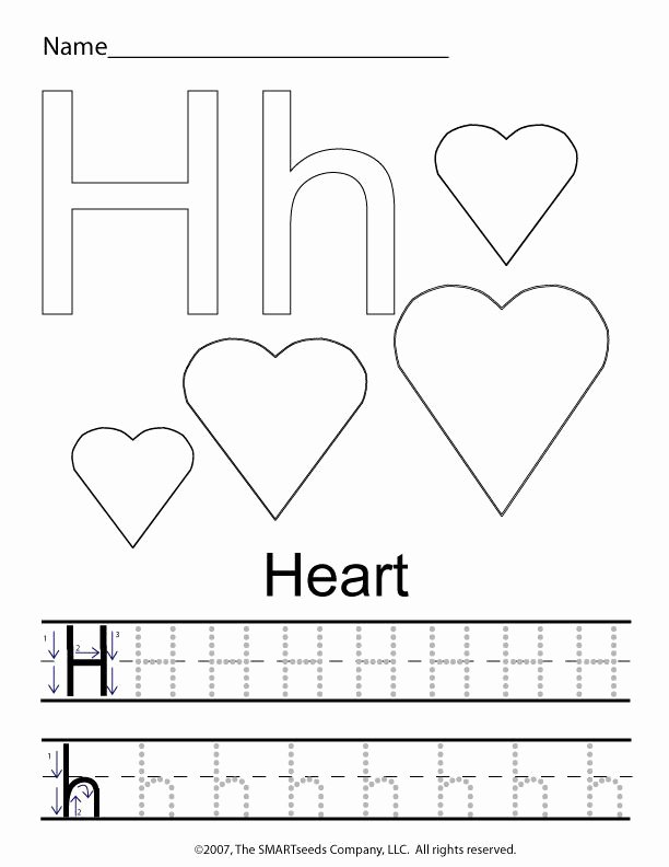 Tracing the Letter H Worksheets for Preschoolers Awesome the Letter H Trace Hearts