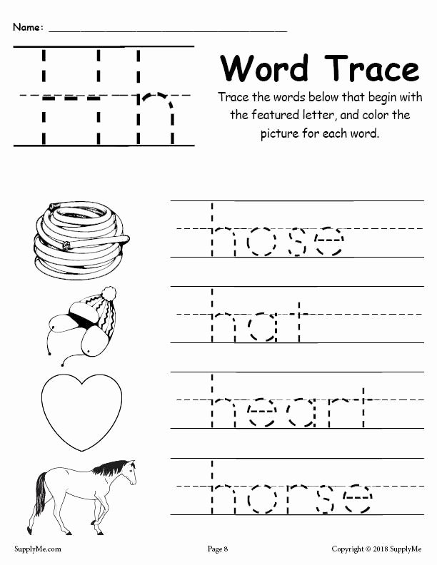 Tracing the Letter H Worksheets for Preschoolers Fresh Letter H Words Alphabet Tracing Worksheet