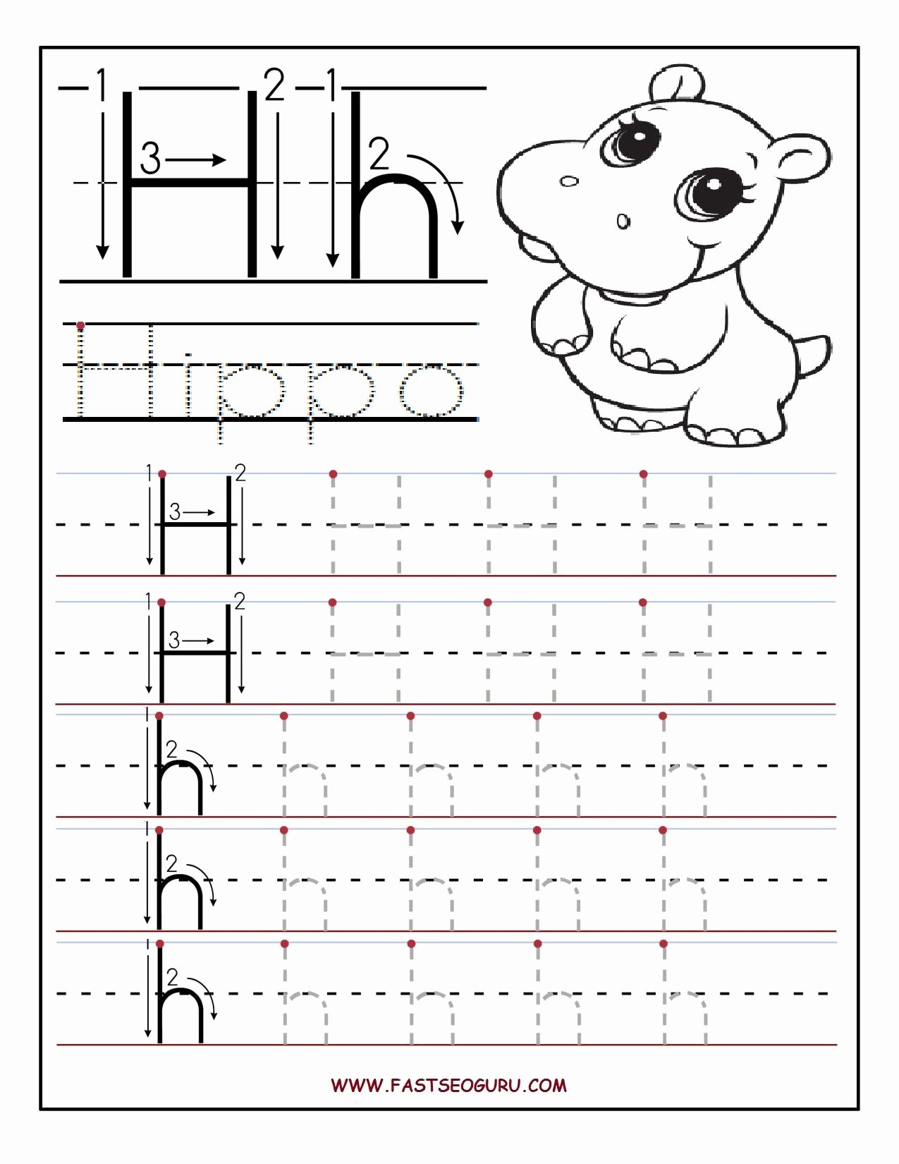 Tracing the Letter H Worksheets for Preschoolers Fresh Printable Letter H Tracing Worksheets for Preschool