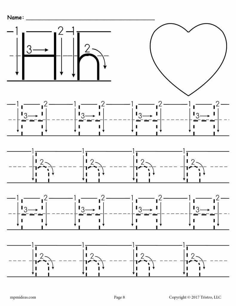 Tracing the Letter H Worksheets for Preschoolers Lovely Printable Letter H Tracing Worksheet with Number and Arrow Guides