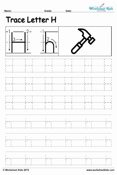 Tracing the Letter H Worksheets for Preschoolers top Letter H Alphabet Tracing Worksheets Free Printable Pdf