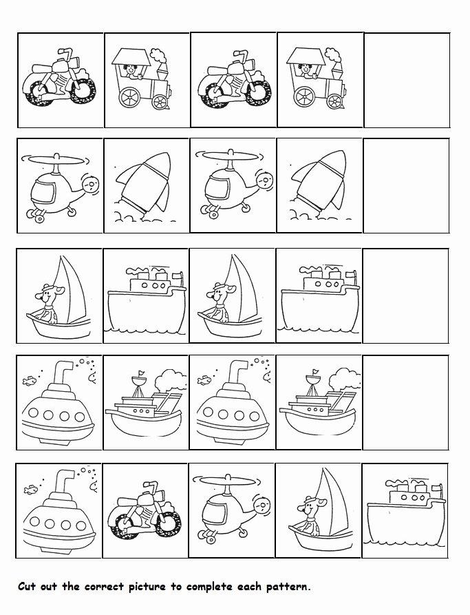 Transport Worksheets for Preschoolers Best Of Transportation Pattern Worksheet for Kids
