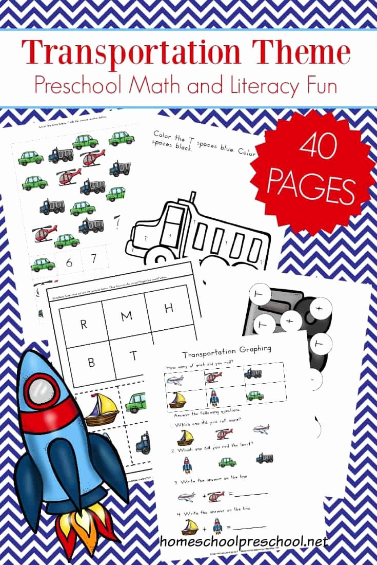 Transport Worksheets for Preschoolers Lovely Free 40 Page Preschool Transportation theme Printables