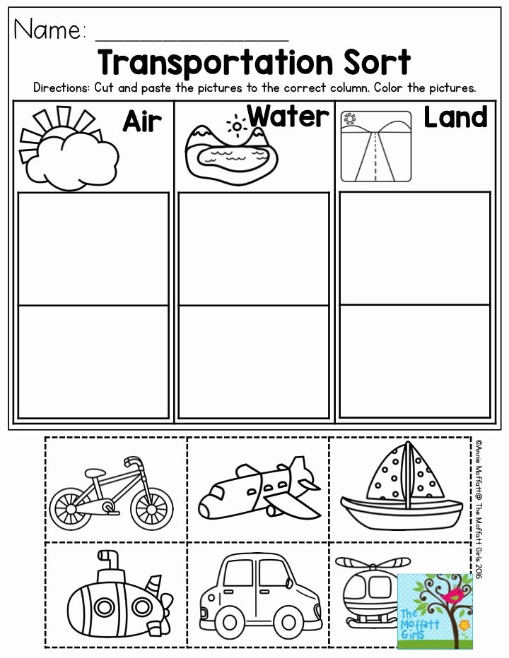 Transportation Worksheets for Preschoolers Awesome Transportation sort Air Water or Land Perfect for